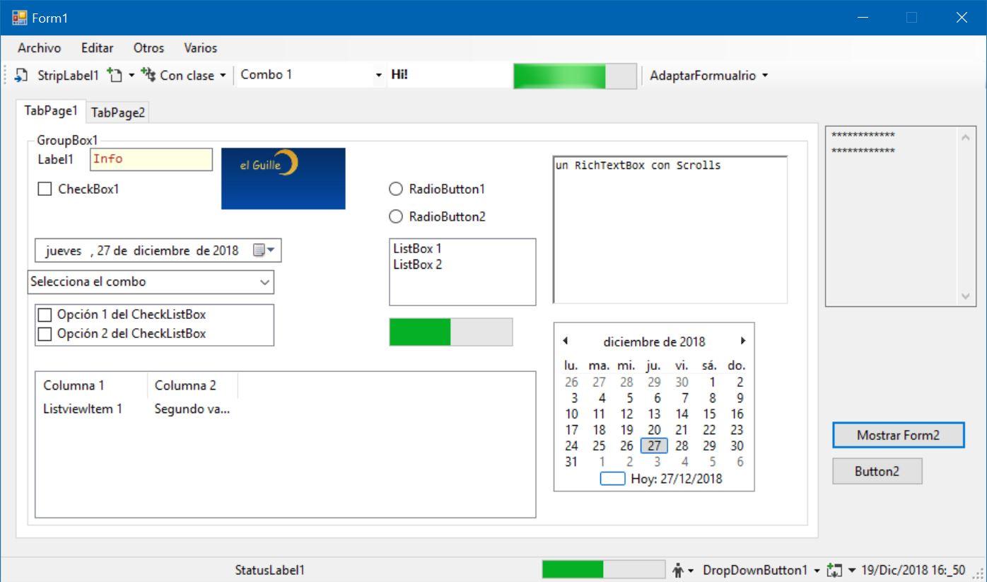 El formulario usando las fuentes de Windows